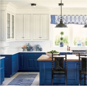 kitchen-design-in-dalton -ga-cobalt-blue-base-cabinets-ivory-top-cabinets-butcher-block-island